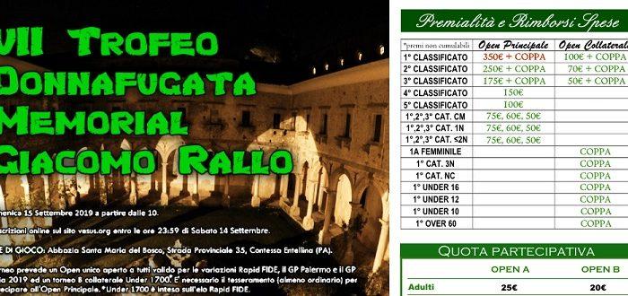 VII Trofeo Donnafugata Memorial Giacomo Rallo – Domenica 15 Settembre (Montepremi 1800€)