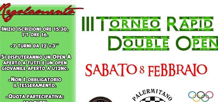 III Torneo Rapid Double Open – Sabato 8 Febbraio ore 15:30